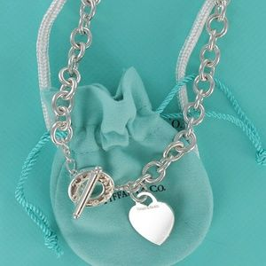 Tiffany Silver Heart Tag Toggle Choker Necklace